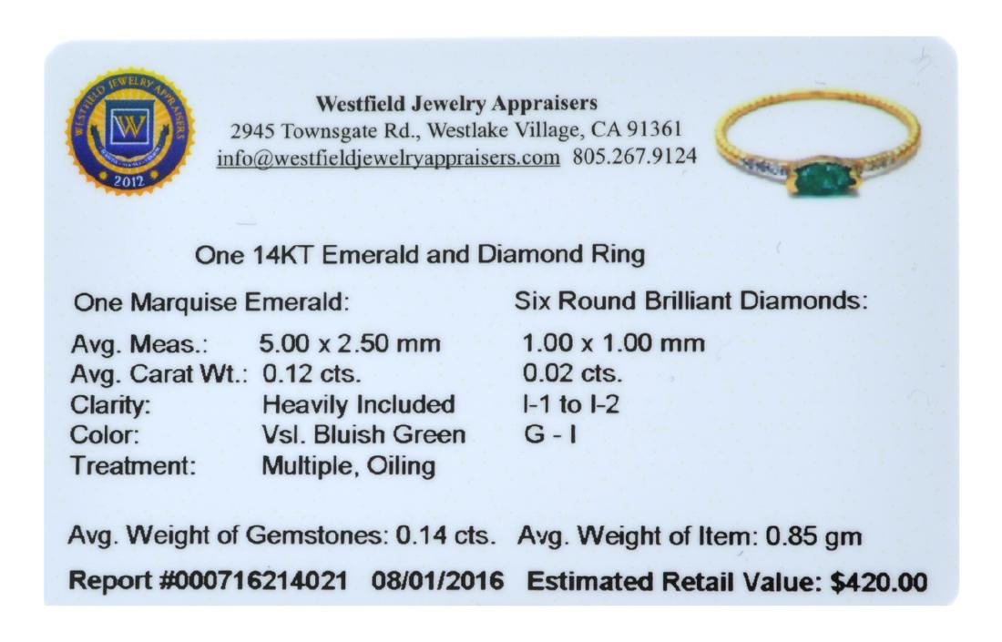 APP: 0.4k Fine Jewelry 14 KT Gold, 0.12CT Green Emerald - 2