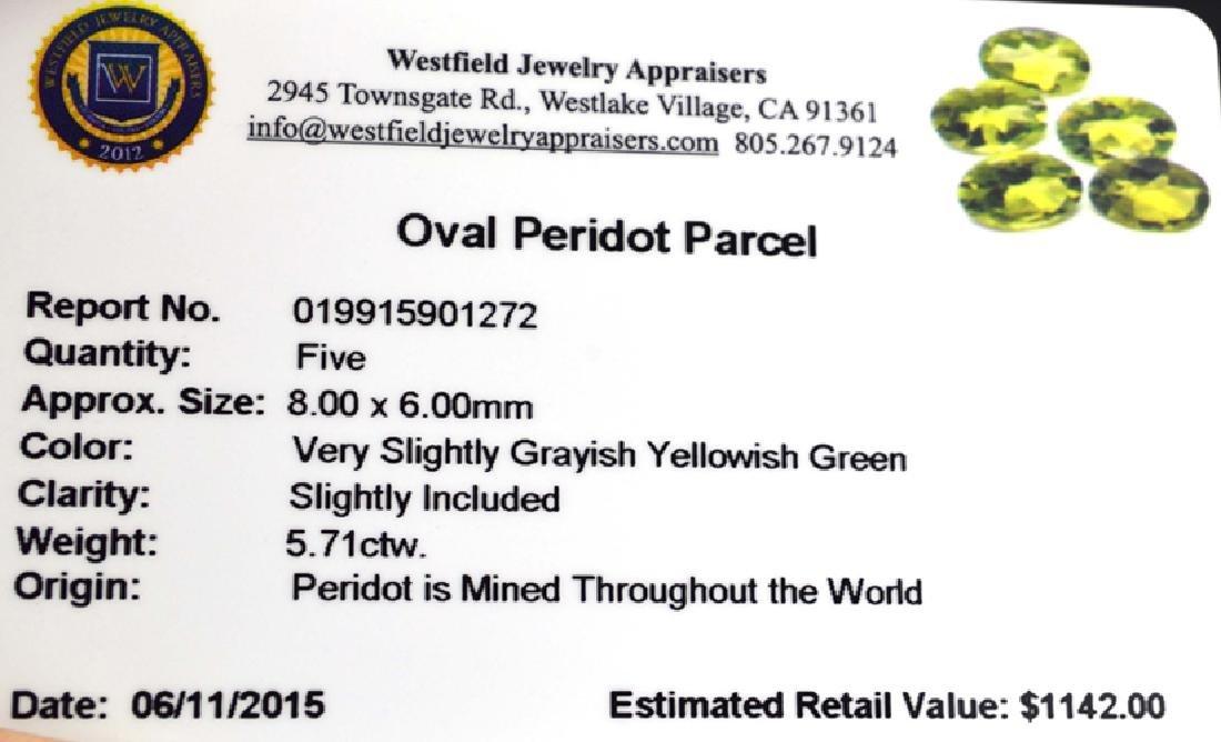 APP: 1.1k 5.71CT Oval Cut Green Peridot Parcel - 2