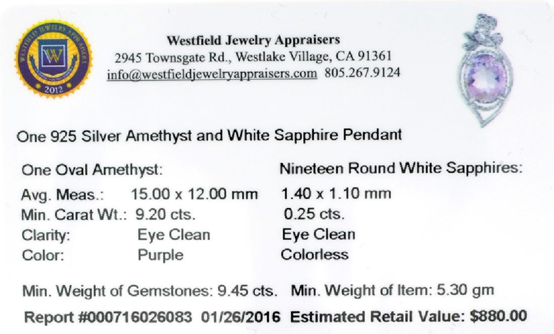 APP: 0.9k Fine Jewerly 9.20CT Oval Cut Amethyst And - 2