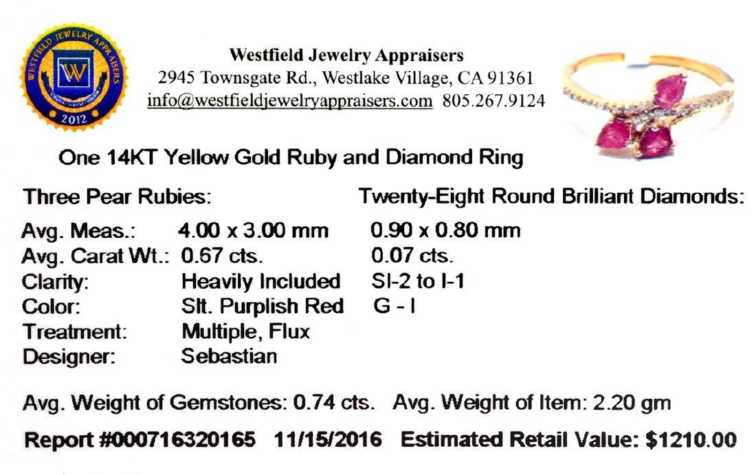Designer Sebastian 14 KT Gold 0.67CT Pear Cut Ruby and - 2