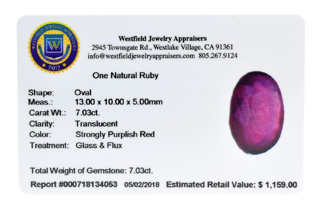 APP: 1.2k Extra Large Size 7.03CT Ruby Gemstone Very - 2