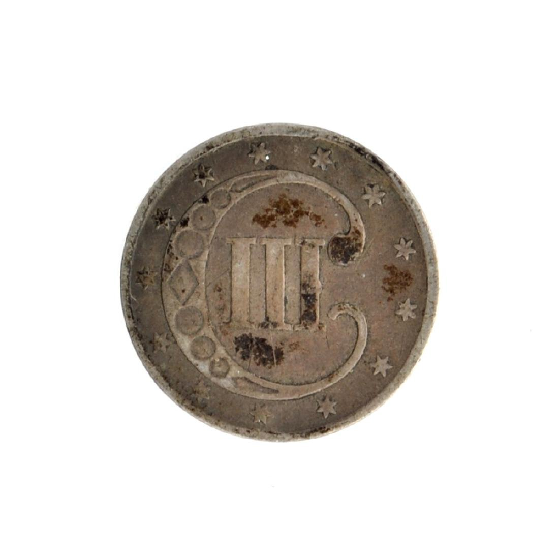 1853 Silver Three-Cent Coin - 2