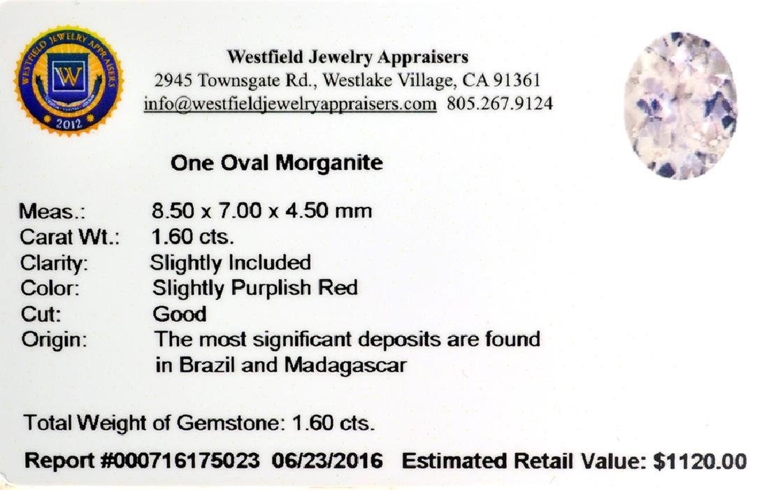 APP: 1.1k 1.60CT Oval Cut Morganite Gemstone - 2