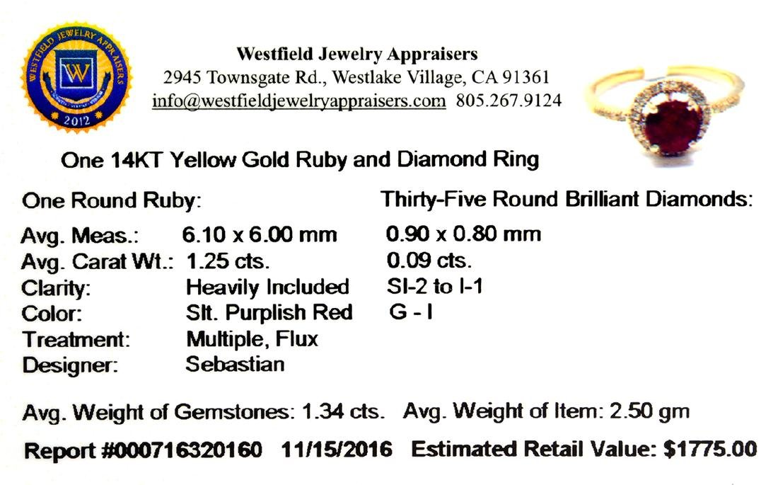 Designer Sebastian 14 KT Gold, 1.25CT Round Cut Ruby - 2