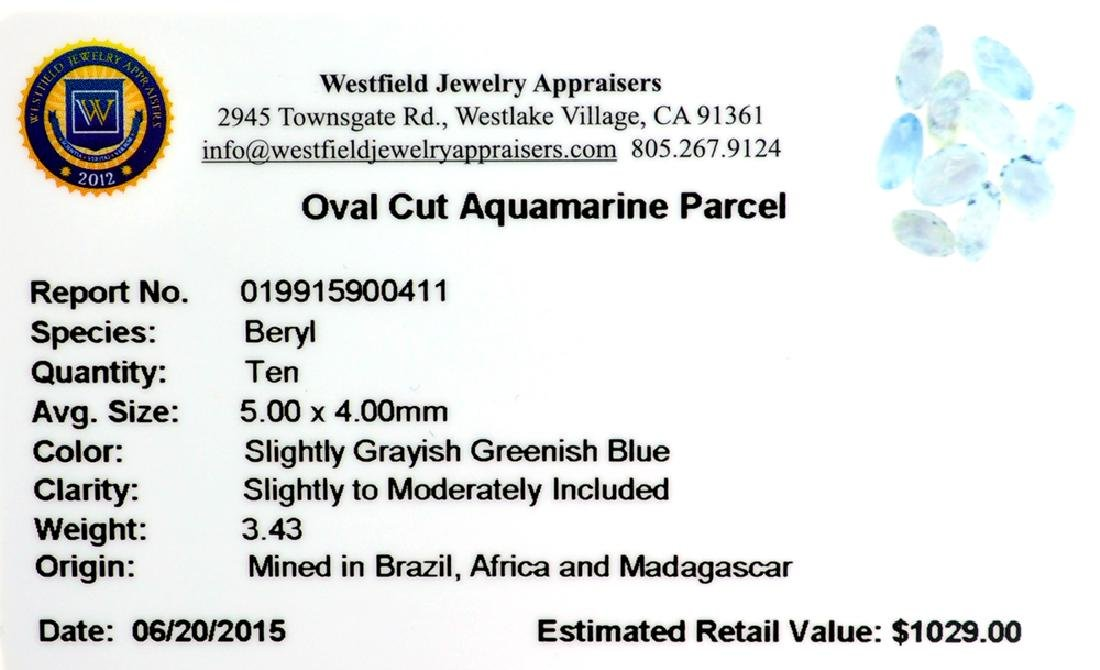 APP: 1k 3.43CT Oval Cut Aquamarine Parcel - 2