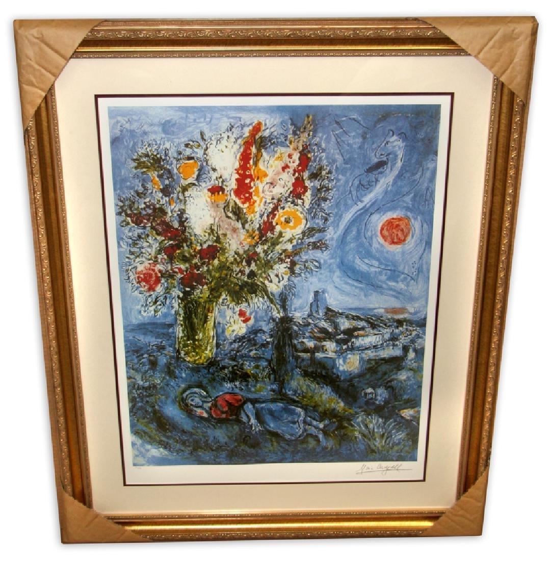 Marc Chagall (After) 'La Dormeuse Aux Fleurs'  Framed &