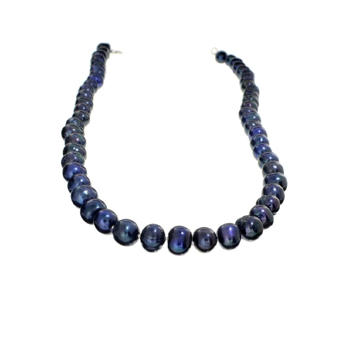 18'' Black Dyed Pearl With Sterling Silver Clasp