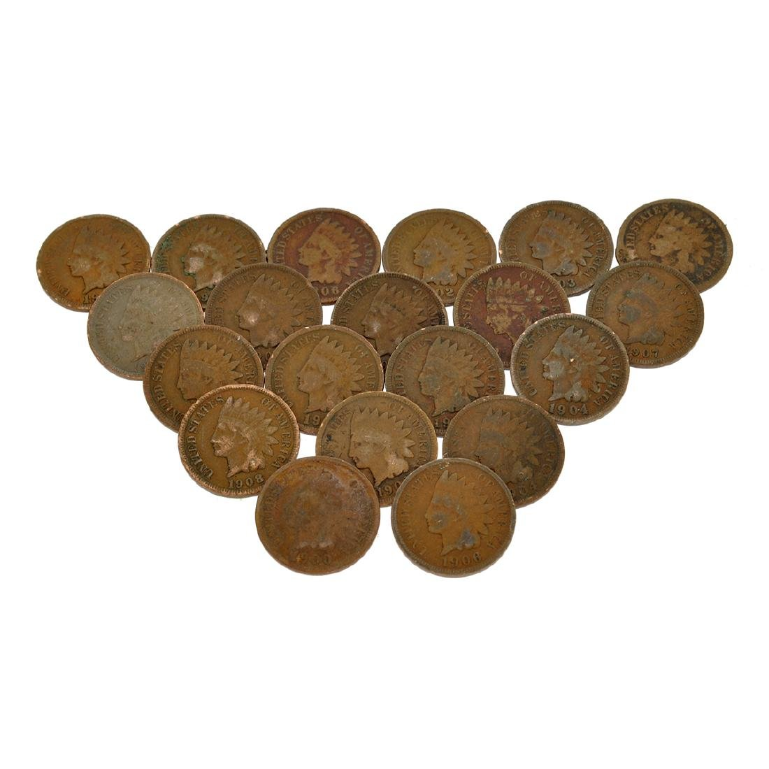 20 Indian Head One Cent Coins