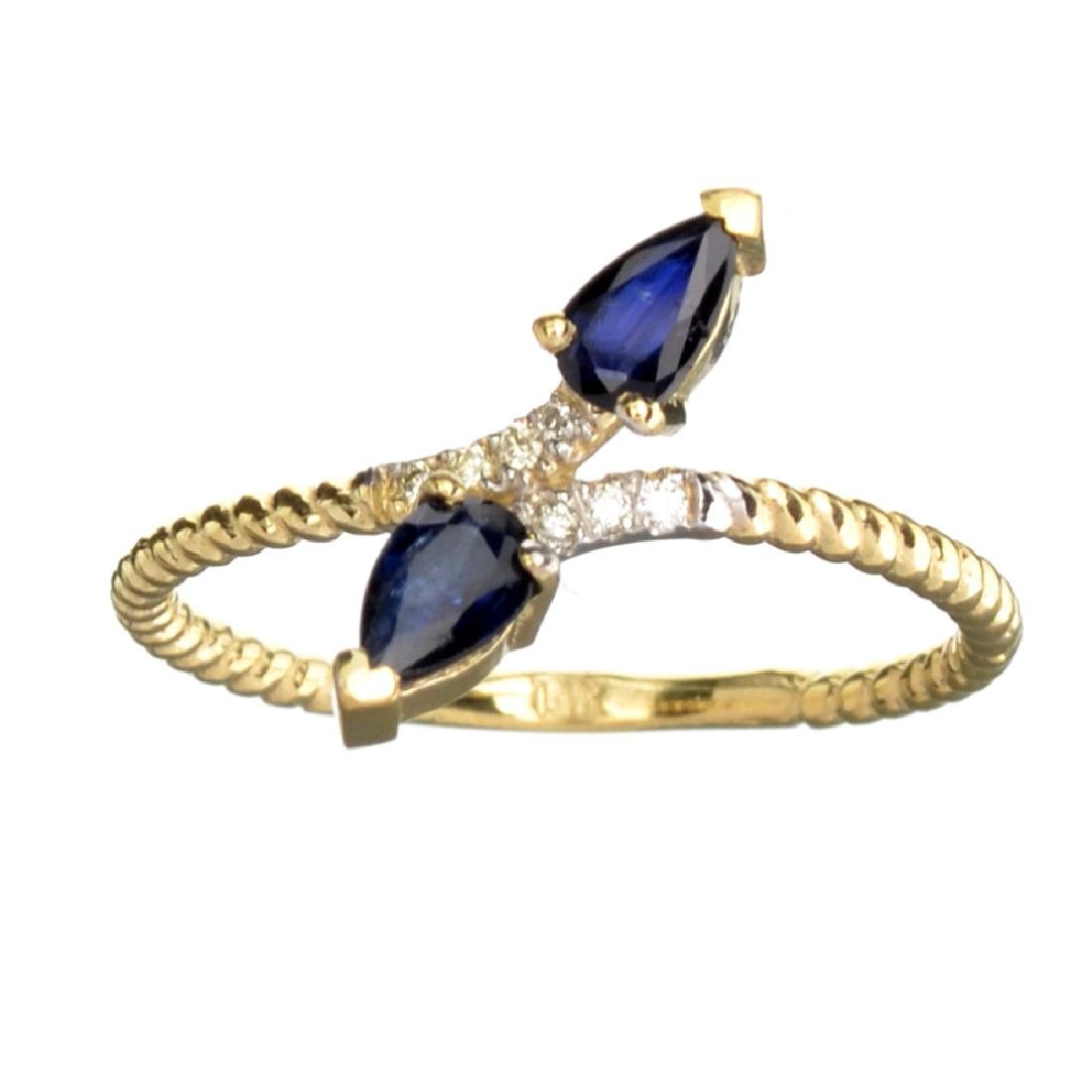 APP: 0.8k Fine Jewelry 14 KT Gold, 0.53CT Blue Sapphire