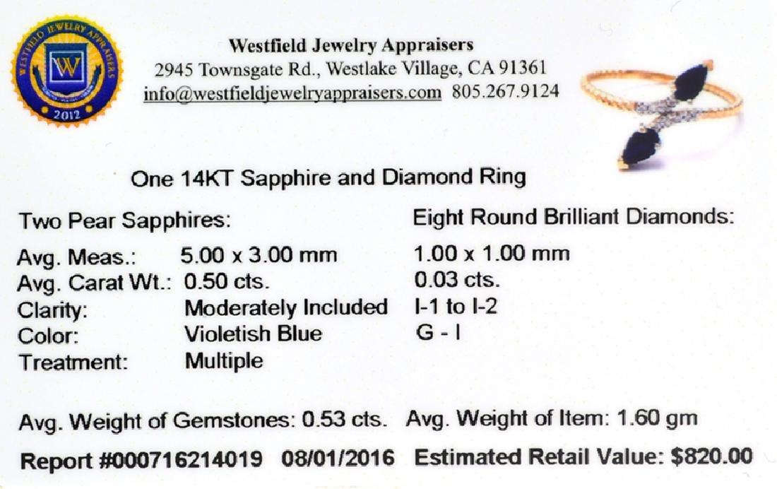 APP: 0.8k Fine Jewelry 14 KT Gold, 0.53CT Blue Sapphire - 2