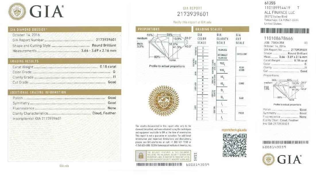 Fine Jewelry GIA Certified 0.18CT Round Brilliant Cut - 2