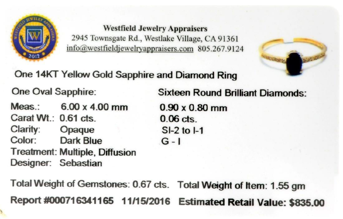 Designer Sebastian 14 KT Gold 0.61CT Oval Cut Sapphire - 2