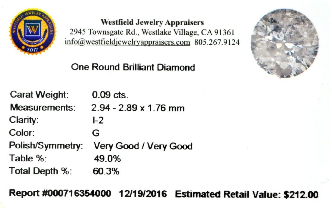 APP: 0.2k 0.09CT Round Brilliant Cut Diamond Gemstone - 2