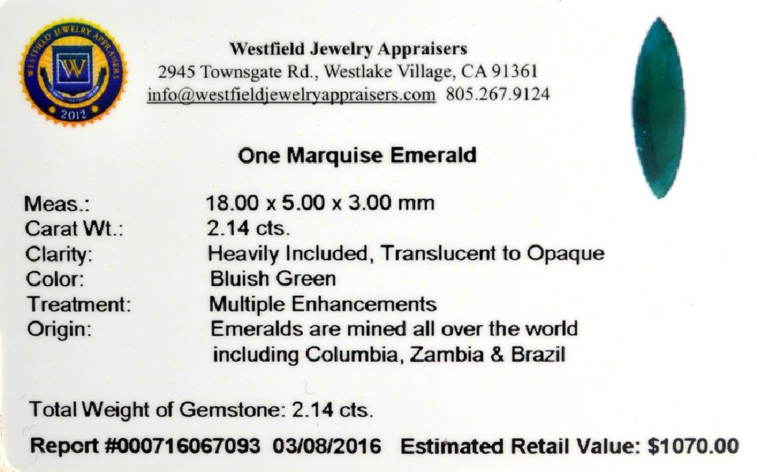 APP: 1.1k 2.14CT Marquise Cut Green Emerald Gemstone - 2