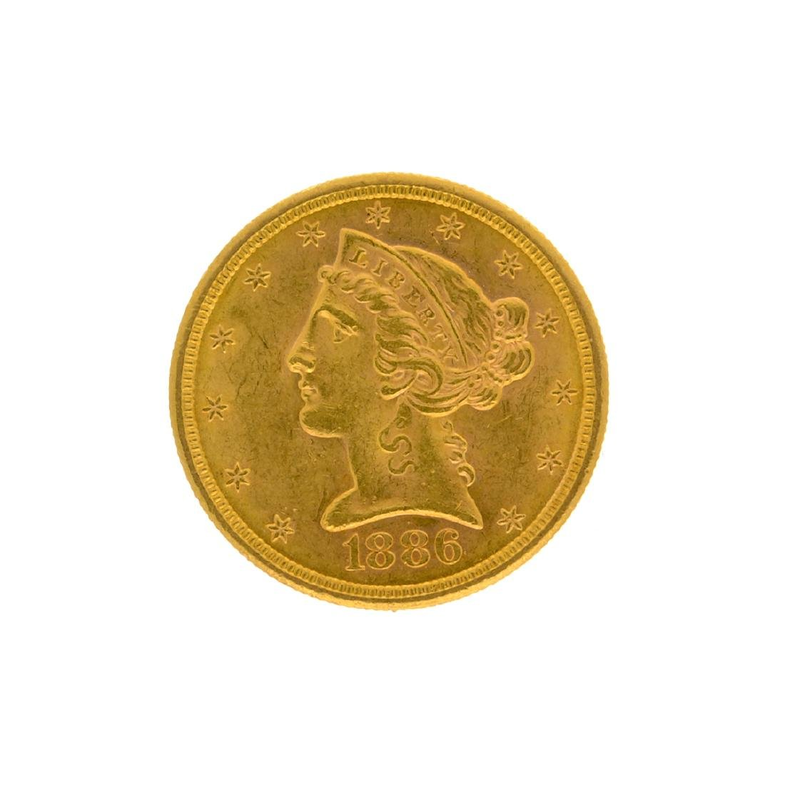 *1886-S $5 Liberty Head Gold Coin (DF)