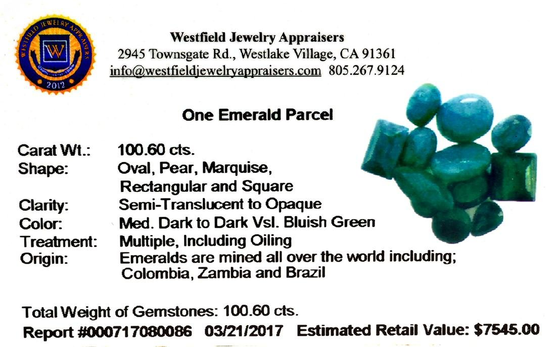 APP: 7.5k 100.60CT Various Shapes Green Emeral Parcel- - 2