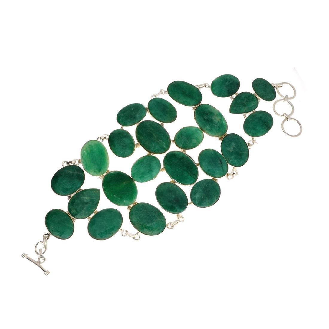 APP: 21.5k 277.87CT Mixed Cut Green Beryl and Sterling