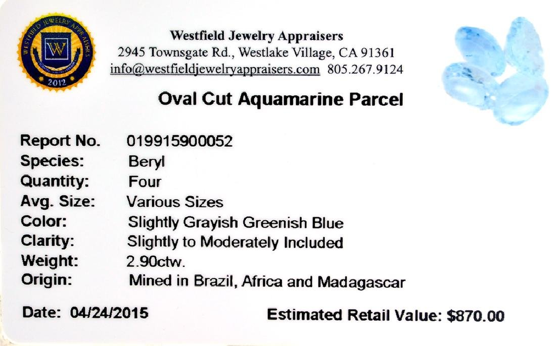 APP: 0.9k 2.90CT Oval Cut Aquamarine Parcel - 2