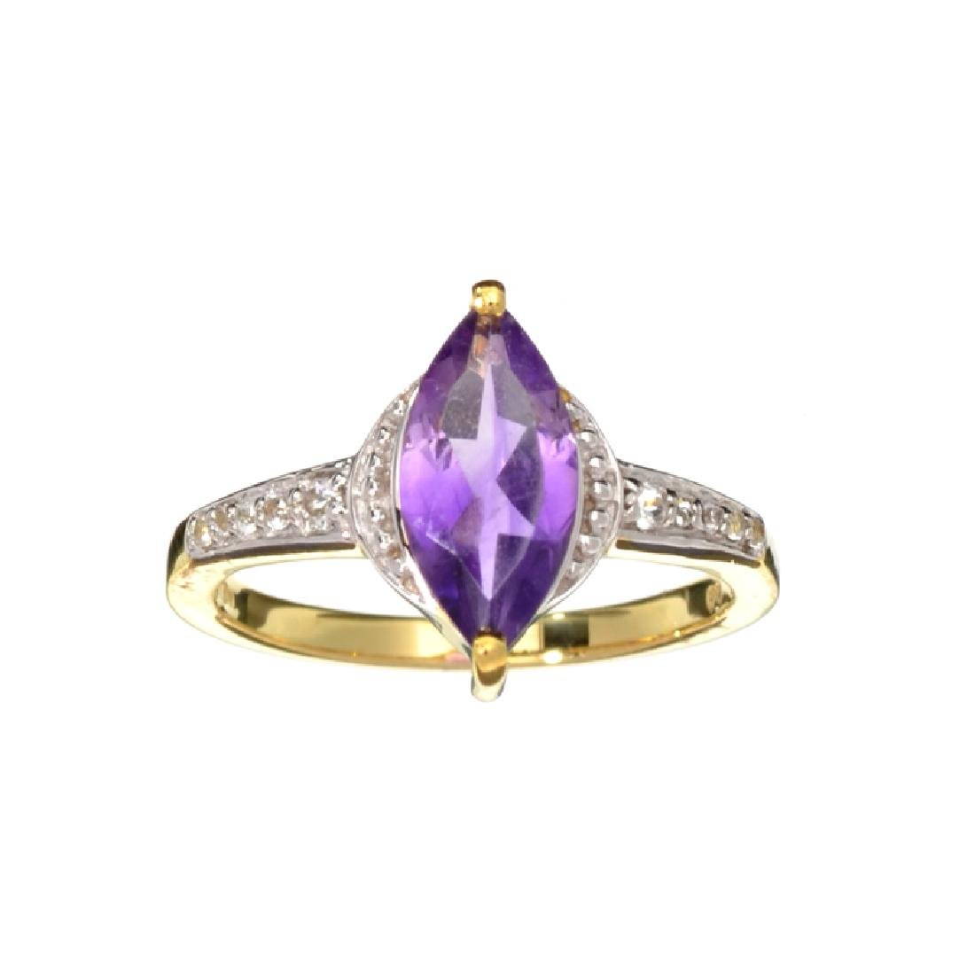 Fine Jewelry 1.45CT Purple Amethyst And White Sapphire