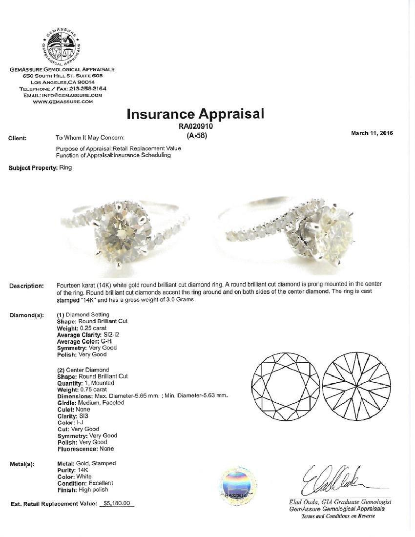 APP: 5.2k *Fine Jewelry 14 kt. White Gold, 1.00CT Round - 2