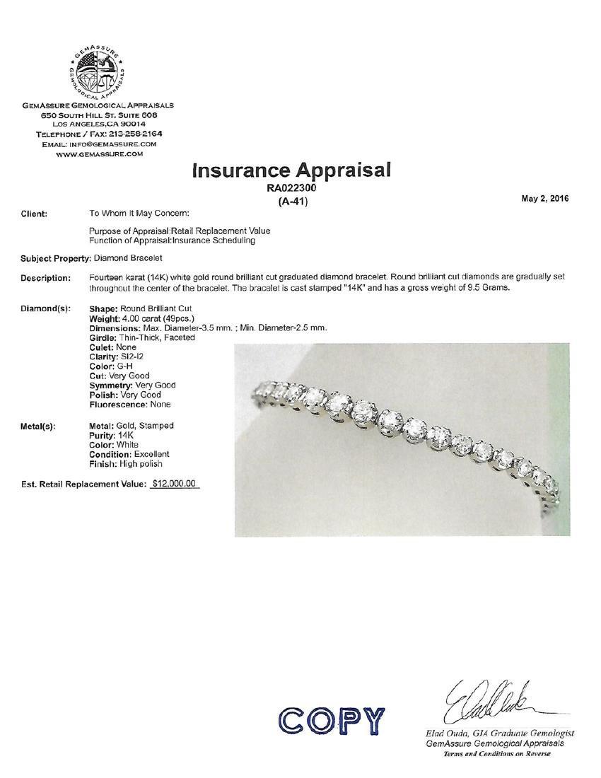 APP: 12k *Fine Jewelry 14 KT White Gold, 4.00CT Round - 2
