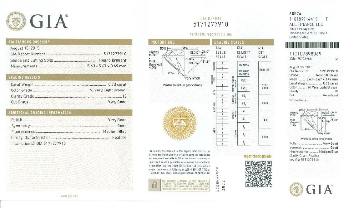 Fine Jewelry GIA Certified 0.70CT Brilliant Round Cut - 2