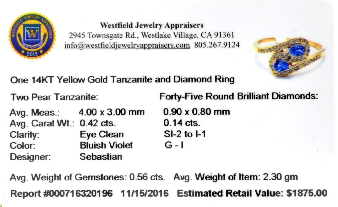 Designer Sebastian 14 KT Gold 0.42CT Pear Cut Tanzanite - 2