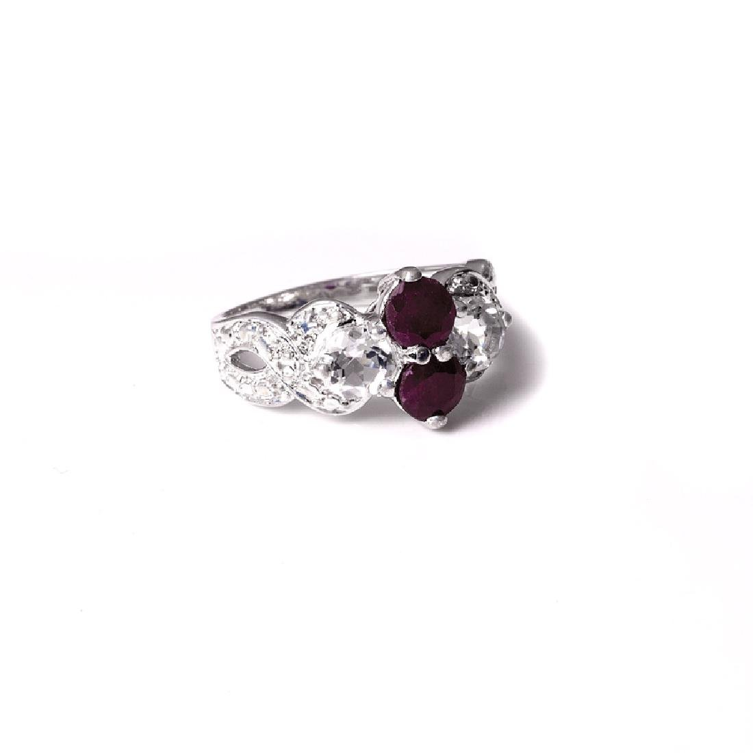 APP: 1.2k 1.02CT Round Cut Ruby And Topaz Platinum Over