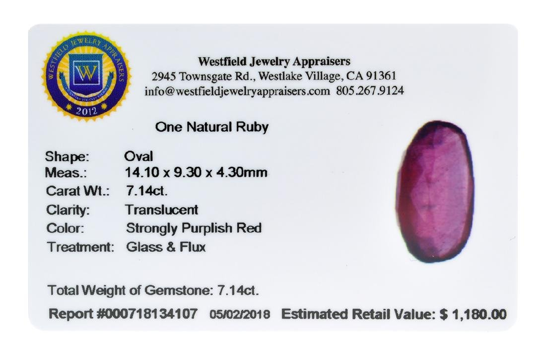 APP: 1.2k Extra Large Size 7.14CT Ruby Gemstone Very - 2
