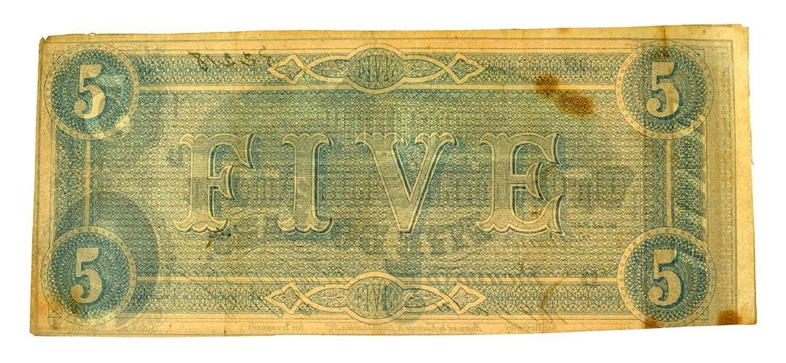Rare 1864 $5 U.S. Confederate Note - 2