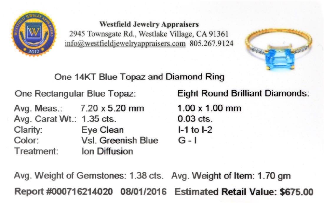 APP: 0.7k Fine Jewelry 14 KT Gold, 1.38CT Blue Topaz - 2