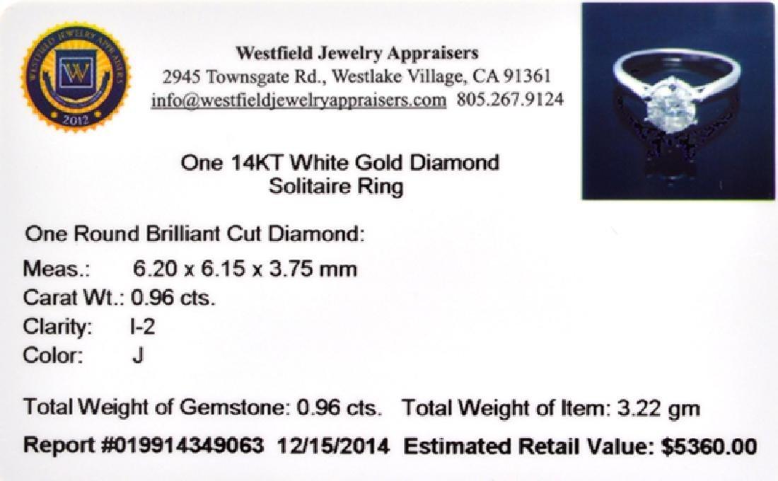 APP: 5.4k 14 kt. White Gold, 0.96CT Round Cut Diamond - 2