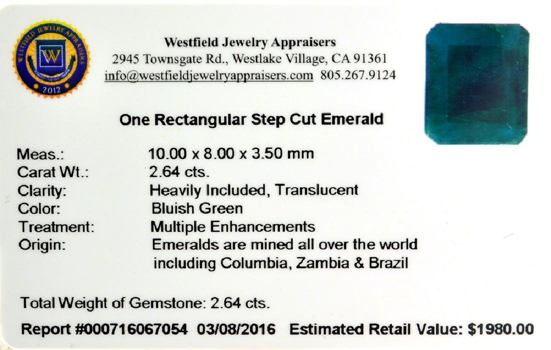 APP: 2k 2.64CT Rectangular Step Cut Green Emerald - 2