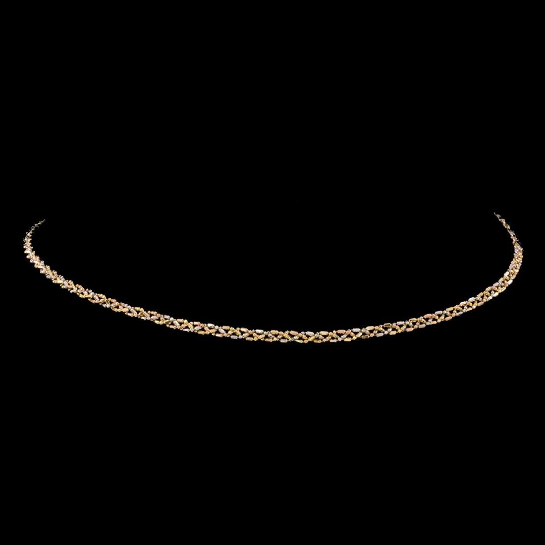 *Fine Jewelry 14 KT White and Yellow Rose Gold Braided