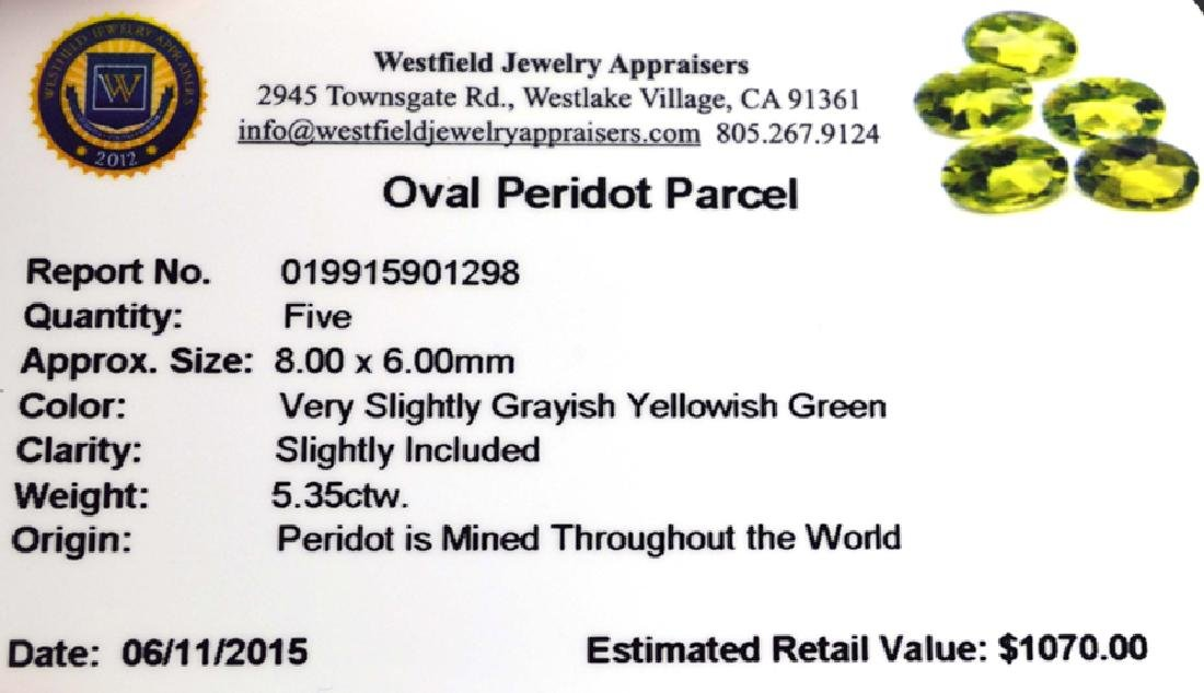 APP: 1.1k 5.35CT Oval Cut Green Peridot Parcel - 2