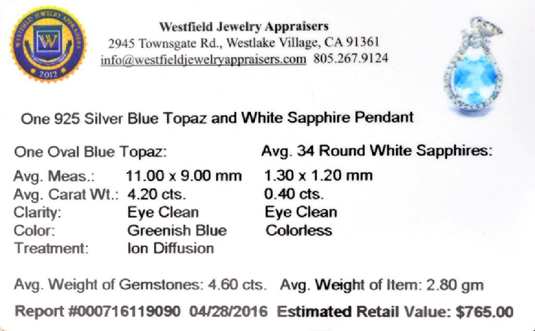 APP: 0.8k Fine Jewelry 4.60CT Blue Topaz And White - 2