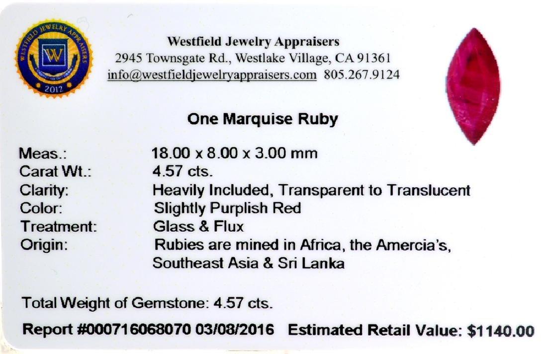 APP: 1.1k 4.57CT Marquise Cut Ruby Gemstone - 2