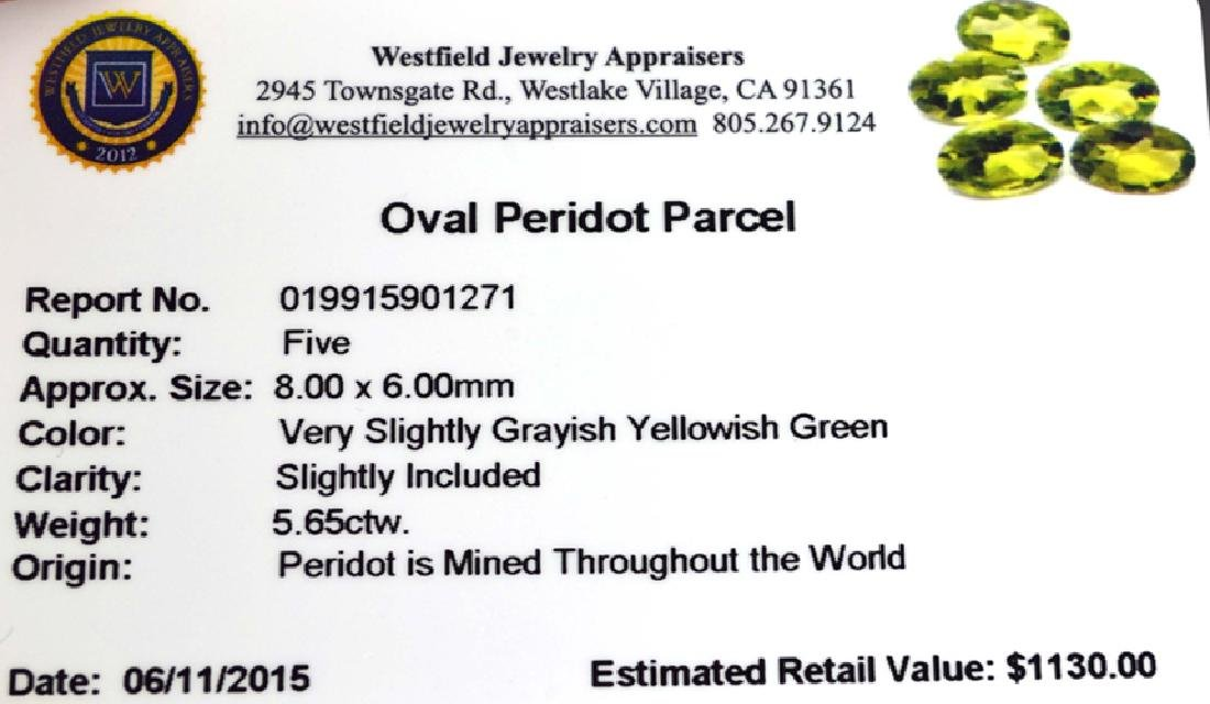 APP: 1.1k 5.65CT Oval Cut Green Peridot Parcel - 2