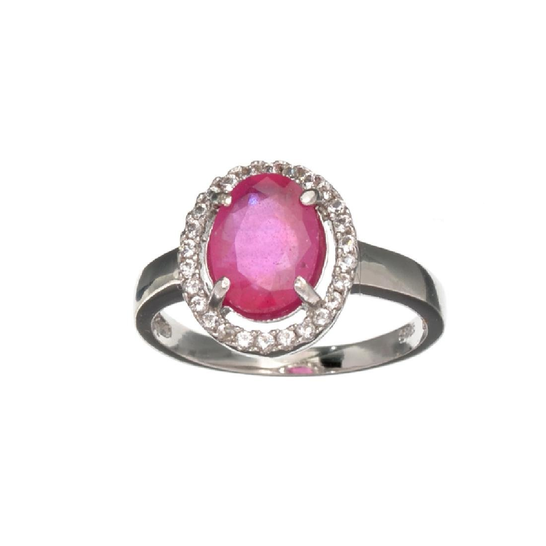 APP: 1k Fine Jewerly 1.90CT Oval Cut Ruby And White