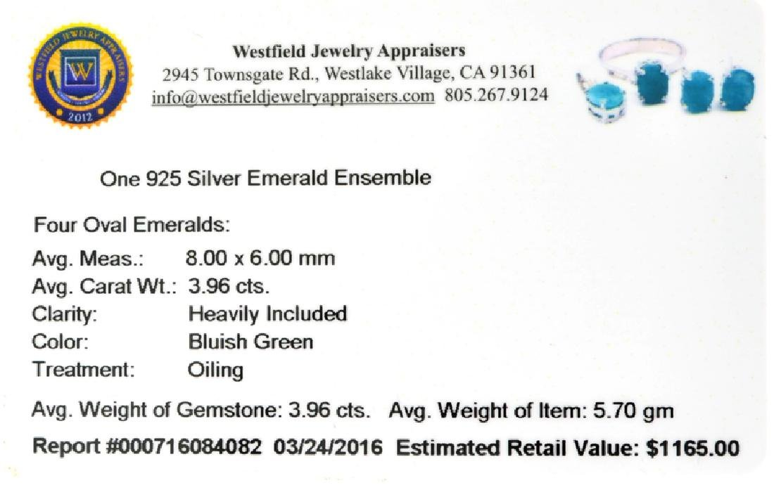 Fine Jewelry 3.96CT Oval Cut Green Emerald And Sterling - 2