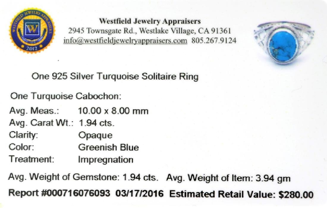 APP: 0.3k Fine Jewelry 1.94CT Cabochon Blue Turquoise - 2