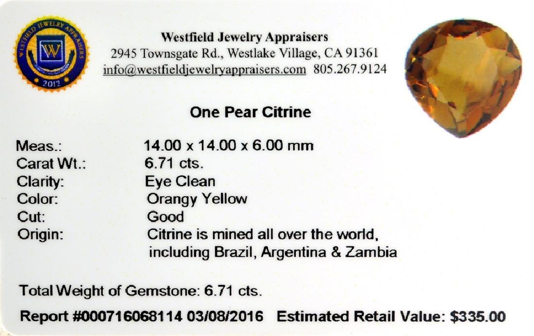 APP: 0.3k 6.71CT Pear Cut Citrine Gemstone - 2