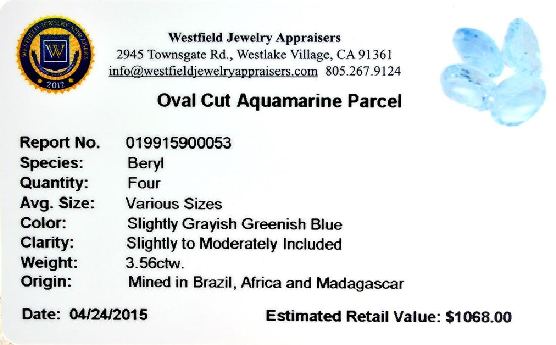 APP: 1.1k 3.56CT Oval Cut Aquamarine Parcel - 2