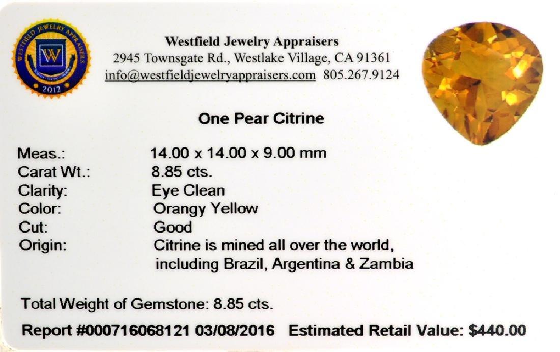 APP: 0.4k 8.85CT Pear Cut Citrine Gemstone - 2