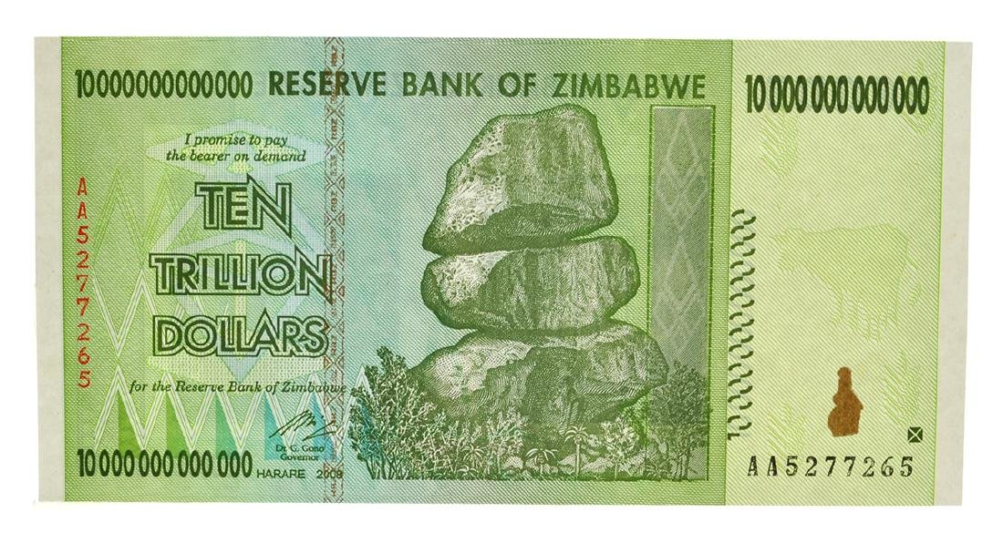 10 Trillion Dollar Zimbabwe Note