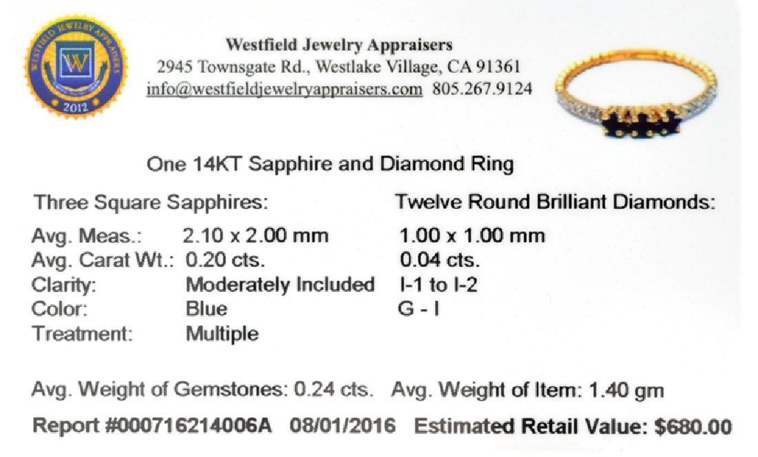 APP: 0.7k Fine Jewelry 14 KT Gold, 0.24CT Blue Sapphire - 2