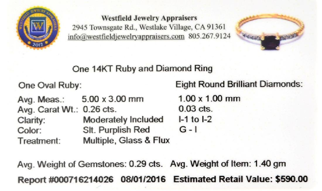 APP: 0.6k Fine Jewelry 14 KT Gold, 0.29CT Red Ruby And - 2