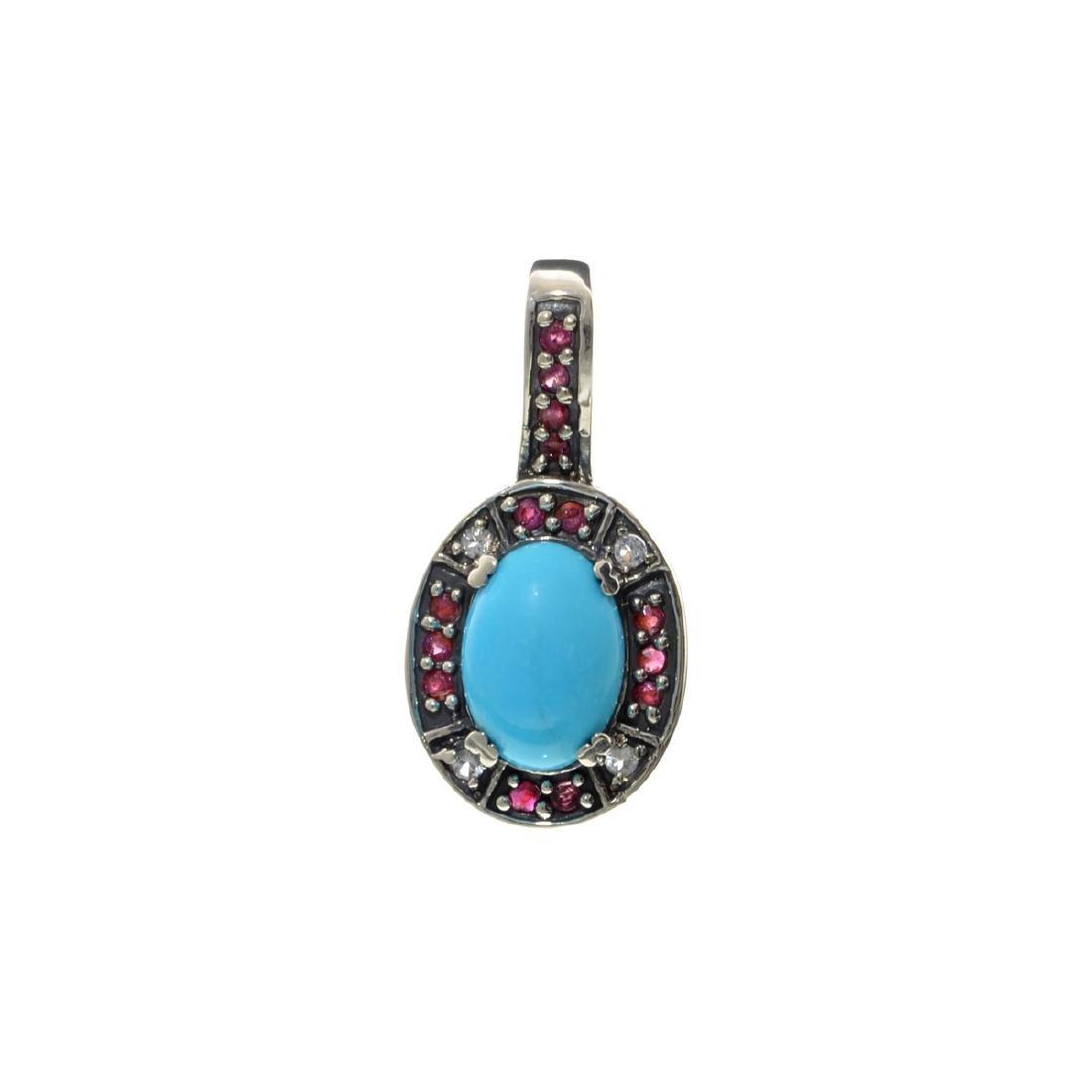 Fine Jewelry Designer Sebastian 6.42CT Turquoise, Ruby