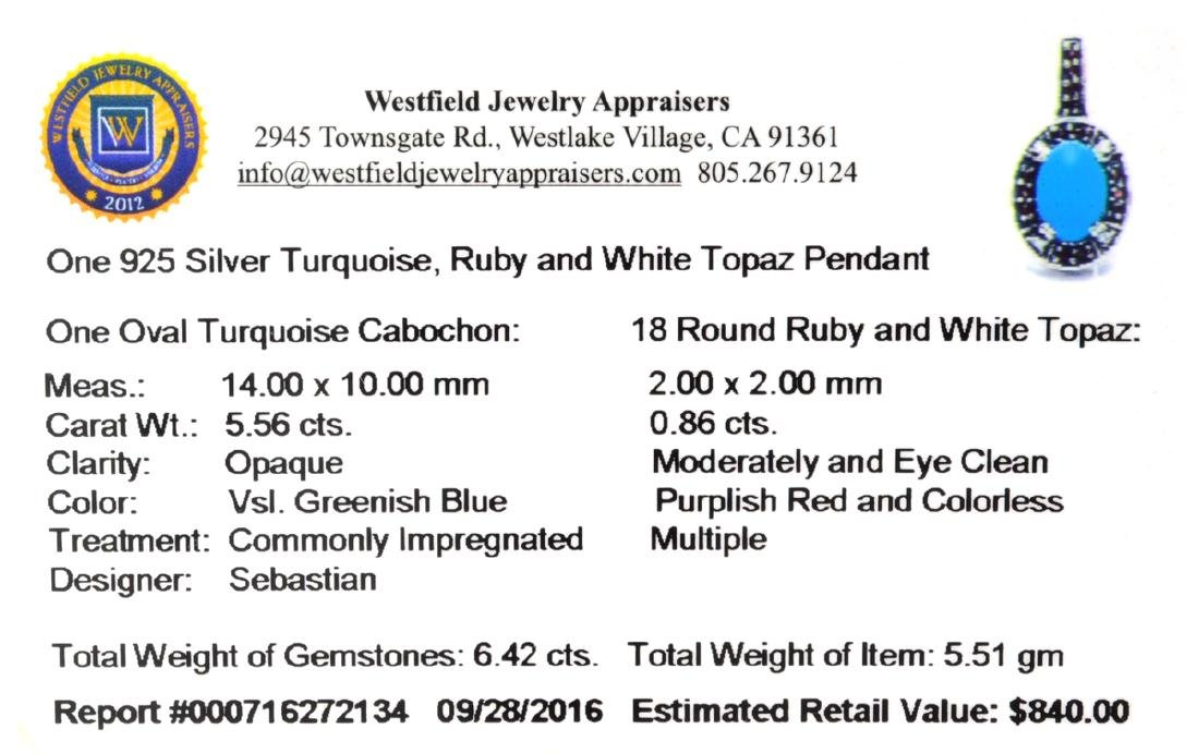 Fine Jewelry Designer Sebastian 6.42CT Turquoise, Ruby - 2