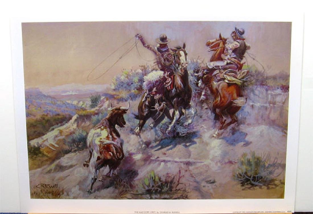 CHARLES M. RUSSELL (After) The Mad Cow Print, 22'' x